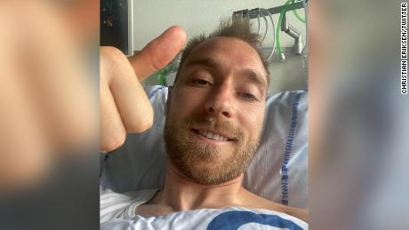 Christian Eriksen thanks well-wishers from his hospital bed.