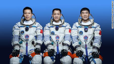China is sending three astronauts into space on June 17 for a three-month mission on its space station, Tiangong. From left to right: Tang Hongbo, Nie Haisheng, Liu Boming
