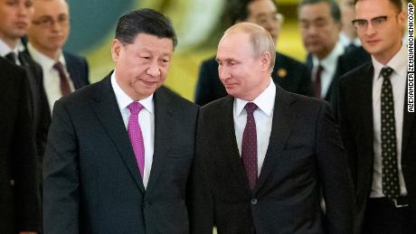 """During a visit to Moscow in 2019, Chinese President Xi Jinping called Russia's Vladimir Putin his """"best friend."""""""