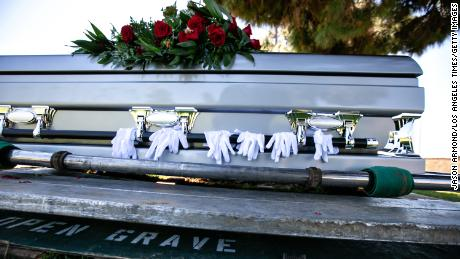Gloves worn by pallbearers are draped on the casket of retired officer Charles Jackson Jr., who died from Covid-19 in April 2020 in Los Angeles. Covid restrictions prevented many people from saying goodbye to dying loved ones in person.