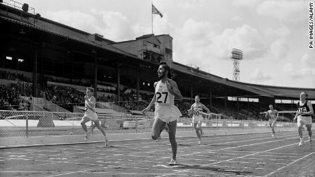 Milkha Singh wins a 400 meter race in 1960.