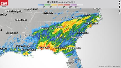 Rain is in the forecast throughout the Southeast