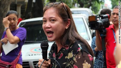 Arlene Brosas of the Gabriela Women's Party during a demonstration in Manila, the Philippines.