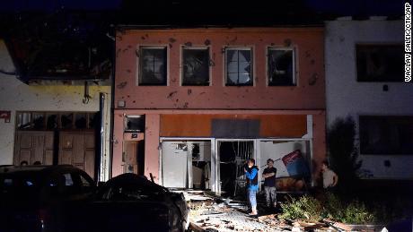 A damaged house is pictured after the tornado hit Moravska Nova Ves in the Hodonin district.