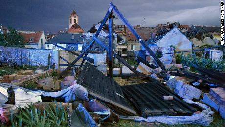 A view of the wreckage after a tornado hit the village of Moravska Nova Ves in the Hodonin district of South Moravia.