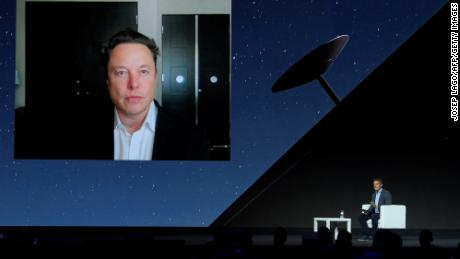 Elon Musk during a keynote speech by video conference at the Mobile World Congress fair in Barcelona on June 29, 2021.