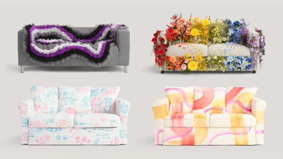 IKEA's Pride-flag themed couches -- top row: asexual, progress and bottom row: transgender, lesbian