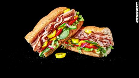 A Subway sandwich made with ham.