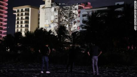 A portion of the condo tower crumbled to the ground during a partial collapse of the building on June 24, 2021 in Surfside, Florida.
