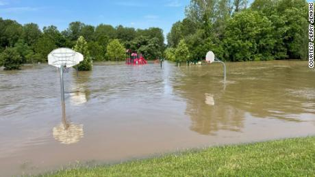 The flooded basketball court at Jay Dix Station in Columbia, where two Boy Scouts rescued a drowning woman.