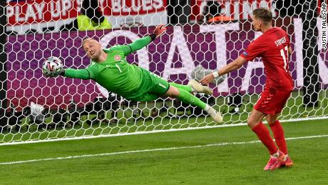 Schmeichel had an impressive game for Denmark, especially with a save for a Harry Maguire header.