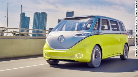 The Volkswagen ID Buzz concept vehicle was designed to resemble the classic VW Microbus.