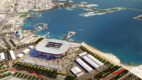 A bird's eye view of the Ras Abu Aboud stadium in this undated computer-generated artists impression provided by 2022 Supreme Committee for Delivery and Legacy.