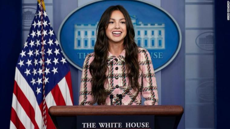 Teen pop star Olivia Rodrigo speaks at the beginning of the daily briefing at the White House in Washington, Wednesday, July 14, 2021. Rodrigo is at the White House to film a video to promote vaccines.