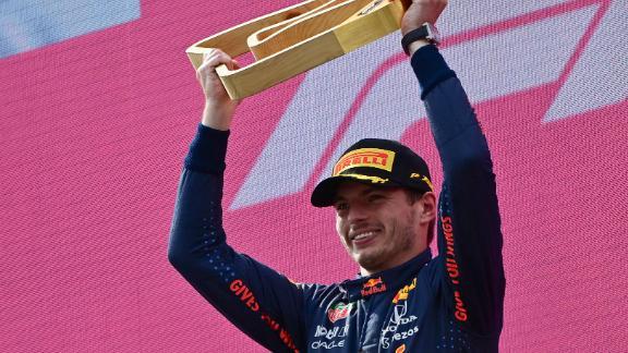 Max Verstappen celebrates his win at the Austrian Grand Prix.