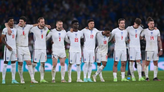 England players look on in a penalty shoot out during the UEFA Euro 2020 Championship Final between Italy and England at Wembley Stadium on July 11, 2021.