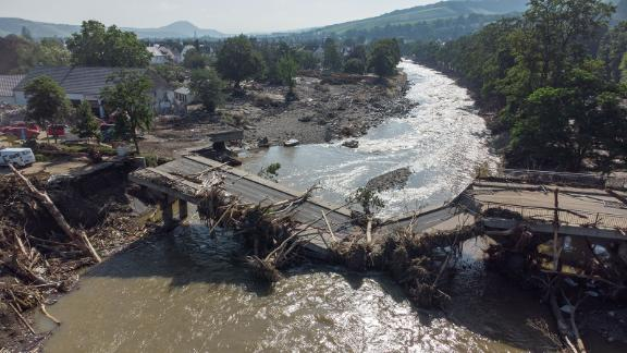 This aerial photo shows a bridge collapsed over the Ahr River in Germany's Ahrweiler district on Sunday.