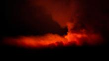 The Bootleg Fire illuminates the sky at night near Bly in Oregon on July 16.