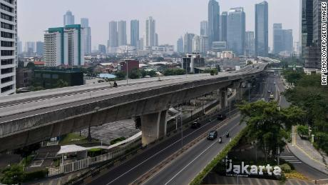 Usually busy streets in downtown Jakarta on July 15, 2021, as the highly infectious Delta variant rips across Indonesia.