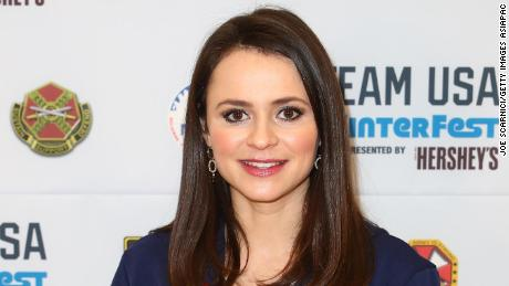 Two-time US Olympian Sasha Cohen is shown during the Team USA WinterFest Presented by Hershey's in Seoul, South Korea, February 19, 2018.