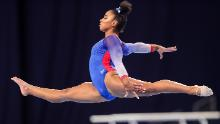 Jordan Chiles competes on floor during day 2 of the women's 2021 US Olympic Trials.
