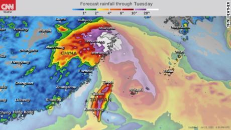 Forecast rainfall accumulation through Tuesday.