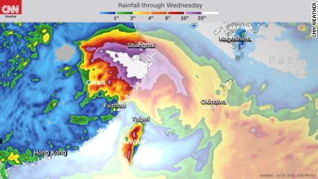 Forecast rainfall accumulation through Wednesday.