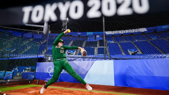 Mexico's Dallas Escobedo warms up before a softball game against Italy on July 25. Softball is back at the Olympics for the first time since 2008.