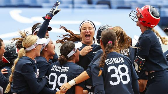 The US softball team celebrates its 2-1 win over Japan on July 26. The two teams will meet again in the gold-medal game July 27.