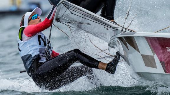Norway's Helene Naess and Marie Ronningen compete in the 49erFX sailing competition on July 27.