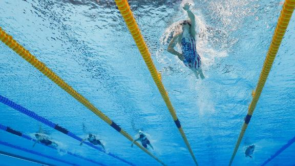 Ledecky led the field for most of the 1,500-meter freestyle, and she finished the race more than four seconds ahead of silver medalist Erica Sullivan, a fellow American.