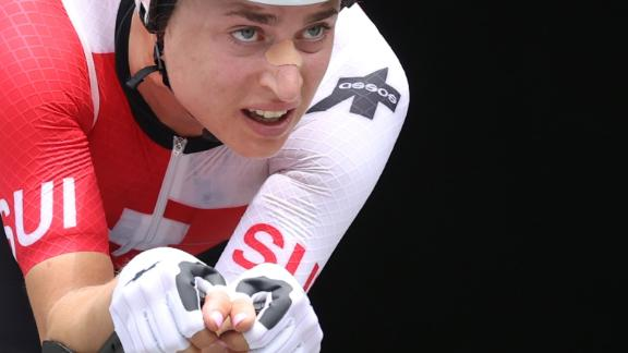 Swiss cyclist Marlen Reusser competes in the time trial event on July 28.