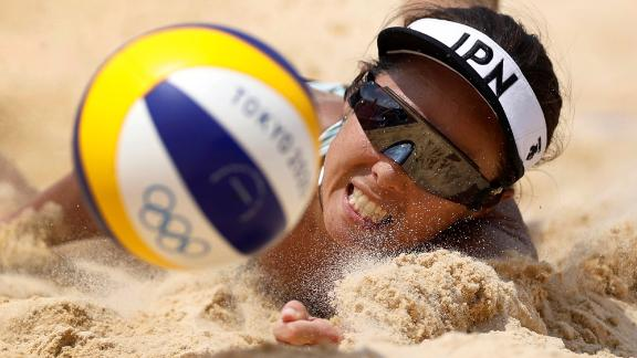 Japan's Megumi Murakami competes in a beach volleyball match on July 28.