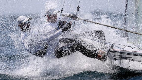 Poland's Lukasz Przybytek and Pawel Kolodzinski compete in the 49er sailing competition on July 28.