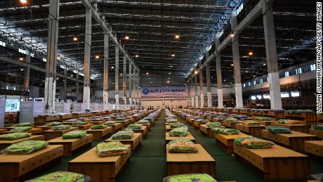 Some 1,800 cardboard beds are prepared at a Covid-19 coronavirus field hospital inside a warehouse at the Don Muang International Airport in Bangkok on July 27.