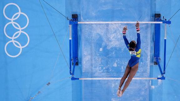 Brazilian gymnast Rebeca Andrade performs on the uneven bars during the individual all-around on July 29.