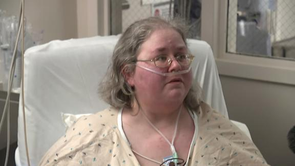 Aimee Matzen, 44, is in the Covid-19 ICU at Our Lady of the Lake Regional Medical Center in Baton Rouge.