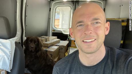 Triton Transportation owner Ryan Schmutzer is shown in an Amazon van.
