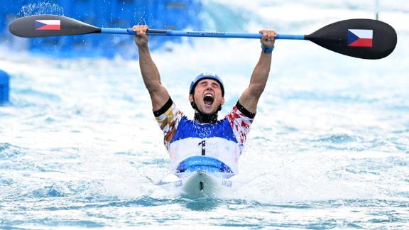 The Czech Republic's Jiri Prskavec reacts after winning gold in the kayak final on July 30.