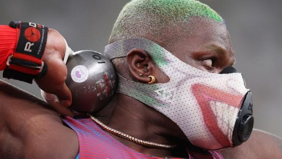 The United States' Raven Saunders competes in shot put qualification on July 30.
