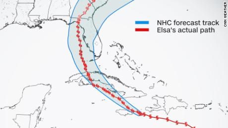 Five-day forecast cone of Hurricane Elsa overlaid with the actual storm track