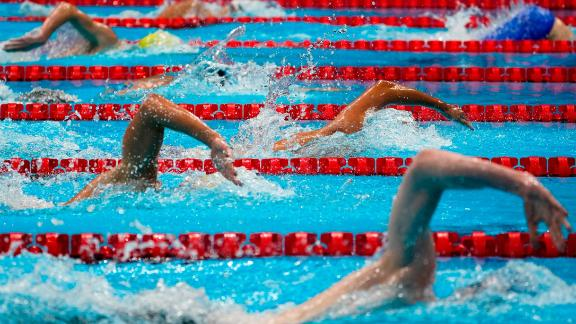 Swimmers compete in the 1,500-meter freestyle on July 30.
