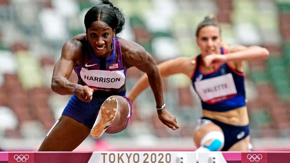 The United States' Kendra Harrison races a 100-meter hurdles heat on July 31.