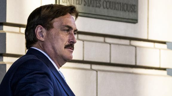 Mike Lindell departs from federal court in Washington, DC, on June 24, 2021.