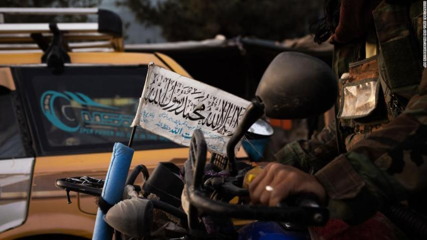 A Taliban flag is seen on a motorcycle ridden by a Taliban fighter on August 15.