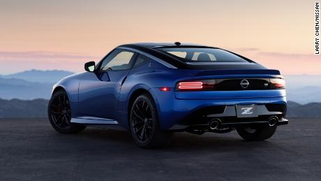 The tail of the Nissan Z slopes downward and flared rear fenders give it a wide look.