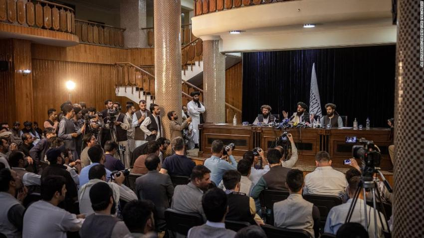 """Taliban spokesman Zabihullah Mujahid addresses reporters in Kabul on August 17. """"We don't want Afghanistan to be a battlefield,"""" he said. """"Today the fighting is over. ... Whoever was against the opposition has been given blanket amnesty."""" Those promises have been met with <a href=""""https://www.cnn.com/2021/08/17/asia/afghanistan-taliban-withdrawal-tuesday-intl/index.html"""" target=""""_blank"""">skepticism by the international community.</a> It was <a href=""""https://www.cnn.com/2021/08/17/asia/afghanistan-taliban-withdrawal-tuesday-intl/index.html"""" target=""""_blank"""">the Taliban's first news conference</a> since they took control of Kabul."""