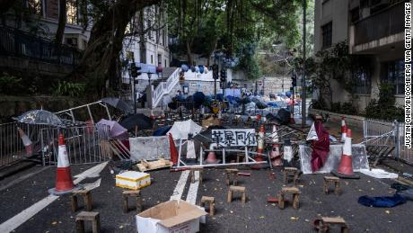 Students barricaded the road outside HKU in November 2019.