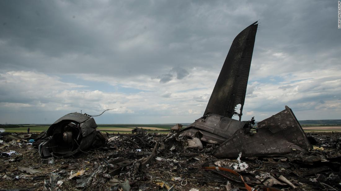 Remnants of a downed Ukrainian army aircraft lie near Luhansk, Ukraine, in June 2014. Ukrainian officials said it was shot down by pro-Russian separatists, killing all 49 service personnel on board.
