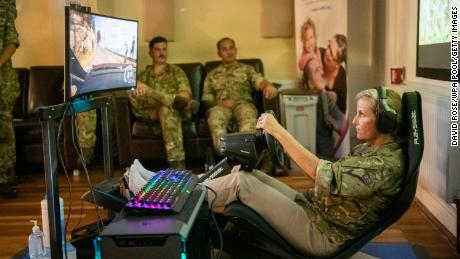 Sophie, Countess of Wessex has a go at the E-Gaming Challenge, a race game called Dirt 2 during a visit to RAF Wittering on September 7, 2021 in Peterborough, England.